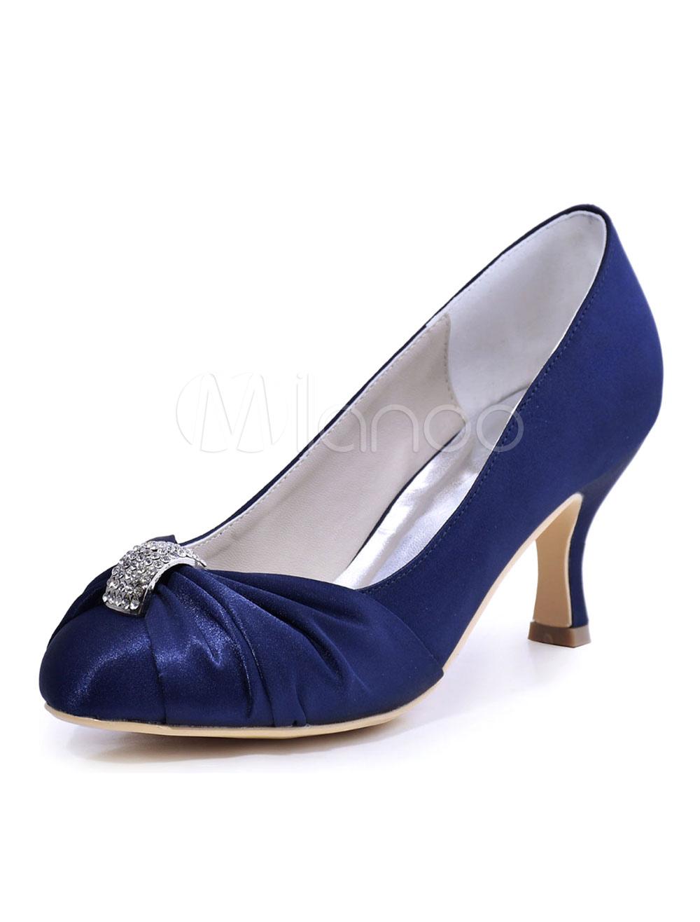 Women's Wedding Shoes Deep Blue Round Toe Ruched Rhinestones Slip On Bridal Pumps