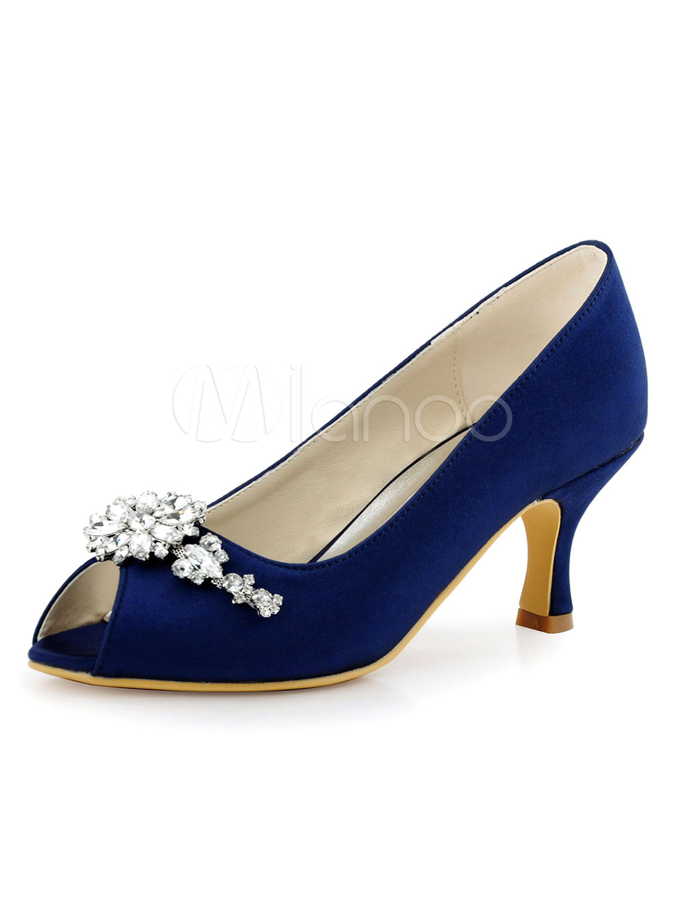 Women's Bridal Shoes Deep Blue Peep Toe Rhinestones Slip On Kitten Heel Pumps