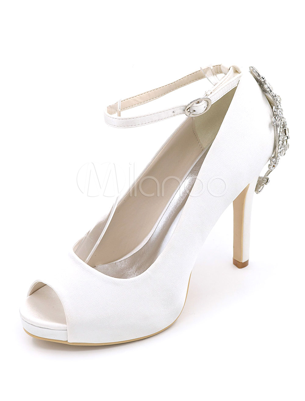 White Wedding Shoes Satin High Heel Women's Peep Toe Rhinestones Ankle Strap Pumps