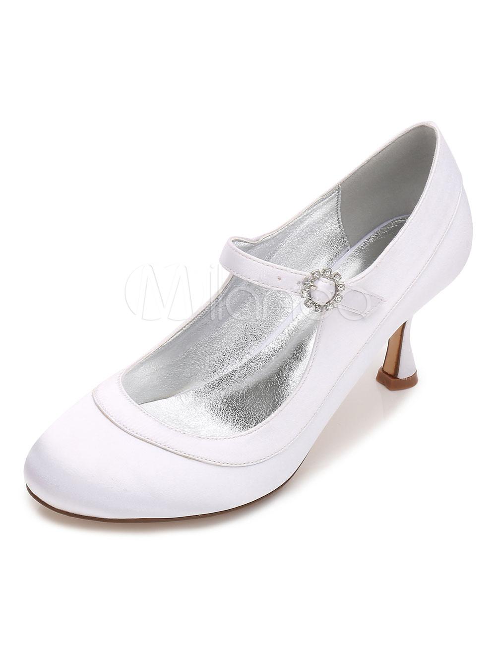 White Wedding Shoes Satin Round Toe Rhinestones Mary Jane Shoes For Women