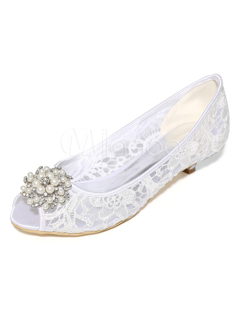 Women's Wedding Shoes Ivory Lace Pearls Rhinestones Kitten Heel Pumps
