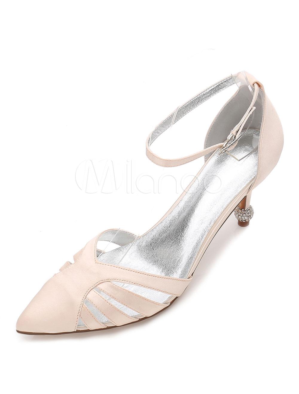 Zapatos de puntera puntiaguada de tacón de prisma de seda y satén con pedreríaelegantes Fiesta de bodas tSJznvw0U1