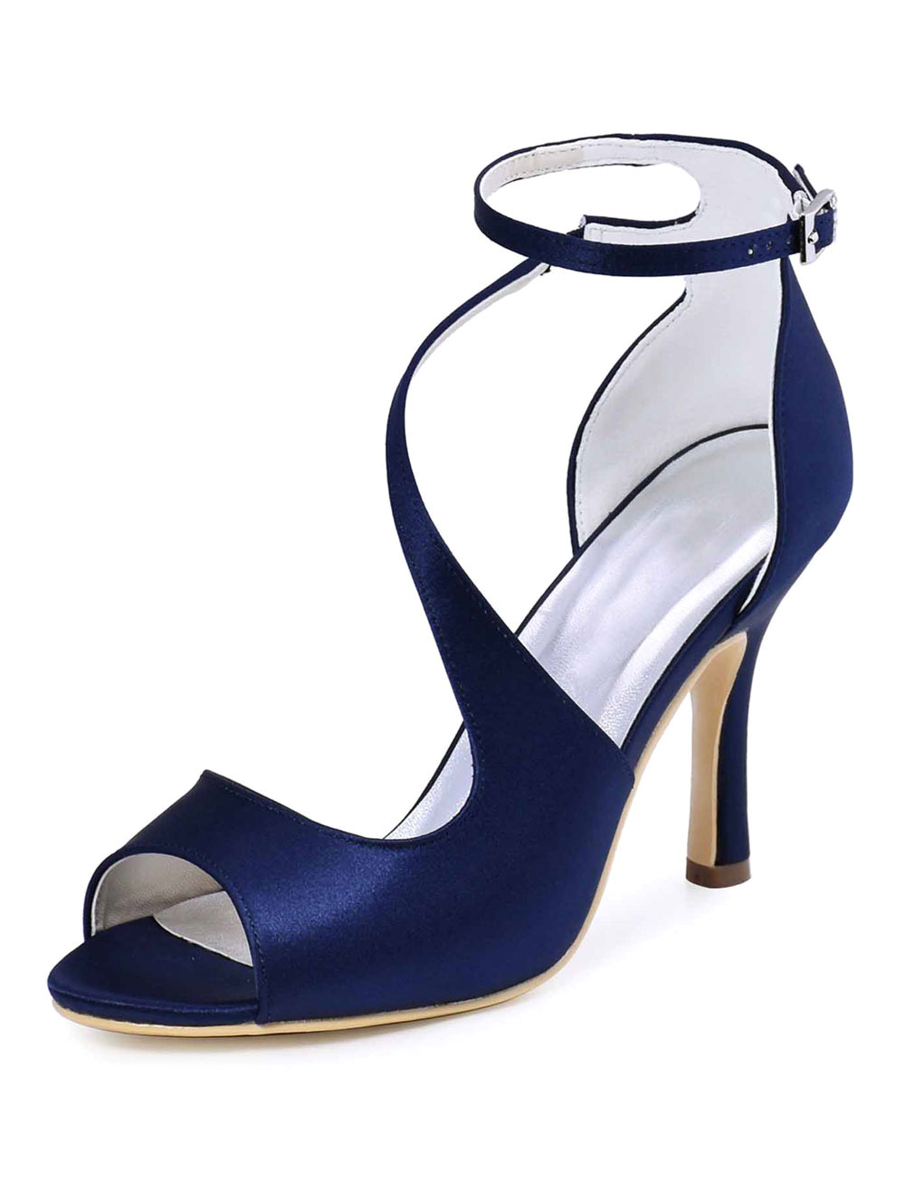 Women's Wedding Shoes Deep Blue Peep Toe Stiletto Ankle Strap Bridal Sandals