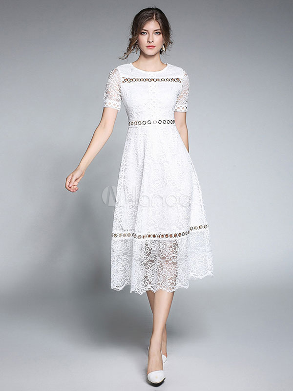 Buy White Lace Dress Round Neck Short Sleeve Cut Out Semi Sheer Midi Dresses For Women for $53.99 in Milanoo store