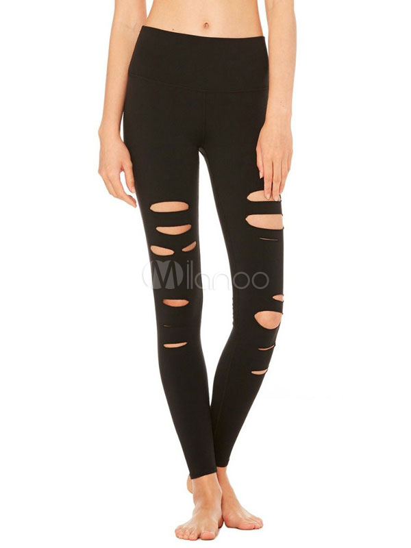 Buy Black Women's Leggings Cut Out Skinny Long Pants for $23.74 in Milanoo store