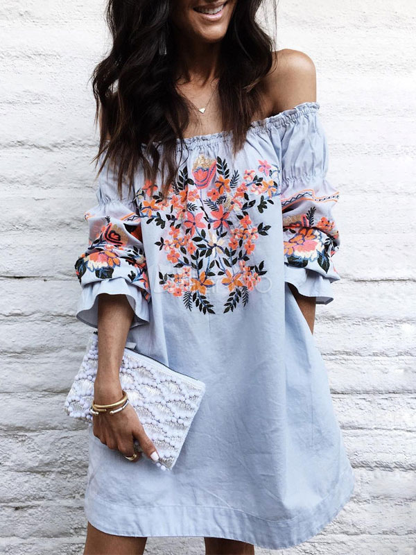 Buy Blue Shift Dress Off The Shoulder Long Sleeve Embroidered Ruffles Short Dresses For Women for $23.74 in Milanoo store