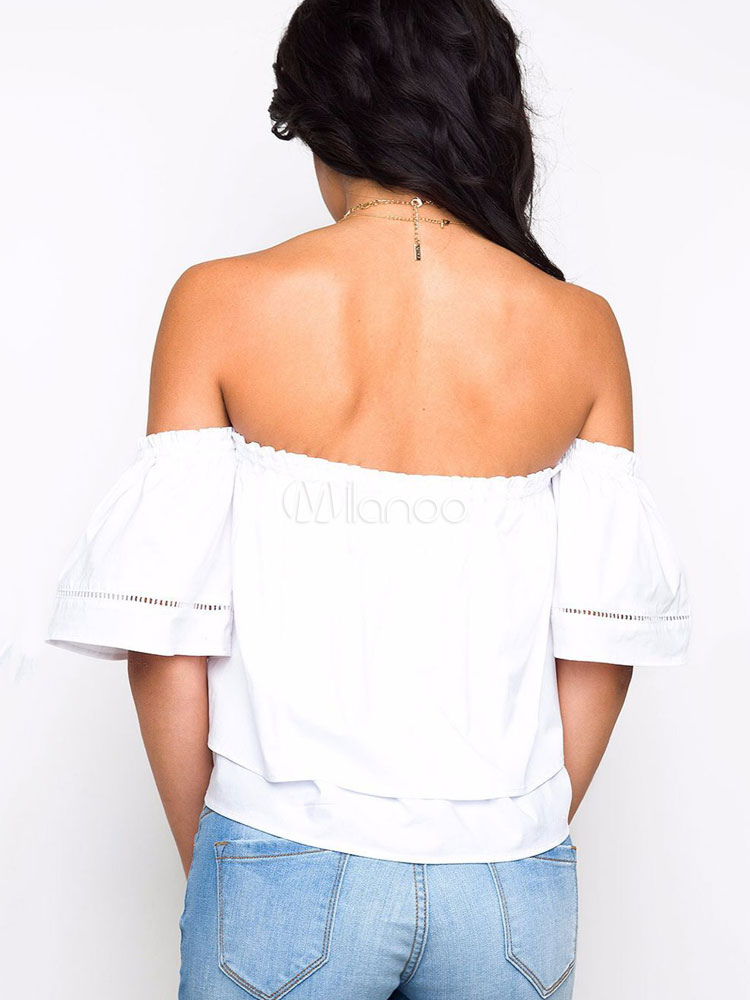 4cded601e6e8a2 ... White Bardot Top Strapless Half Sleeve Tiered Low Back Women's Cotton  ...
