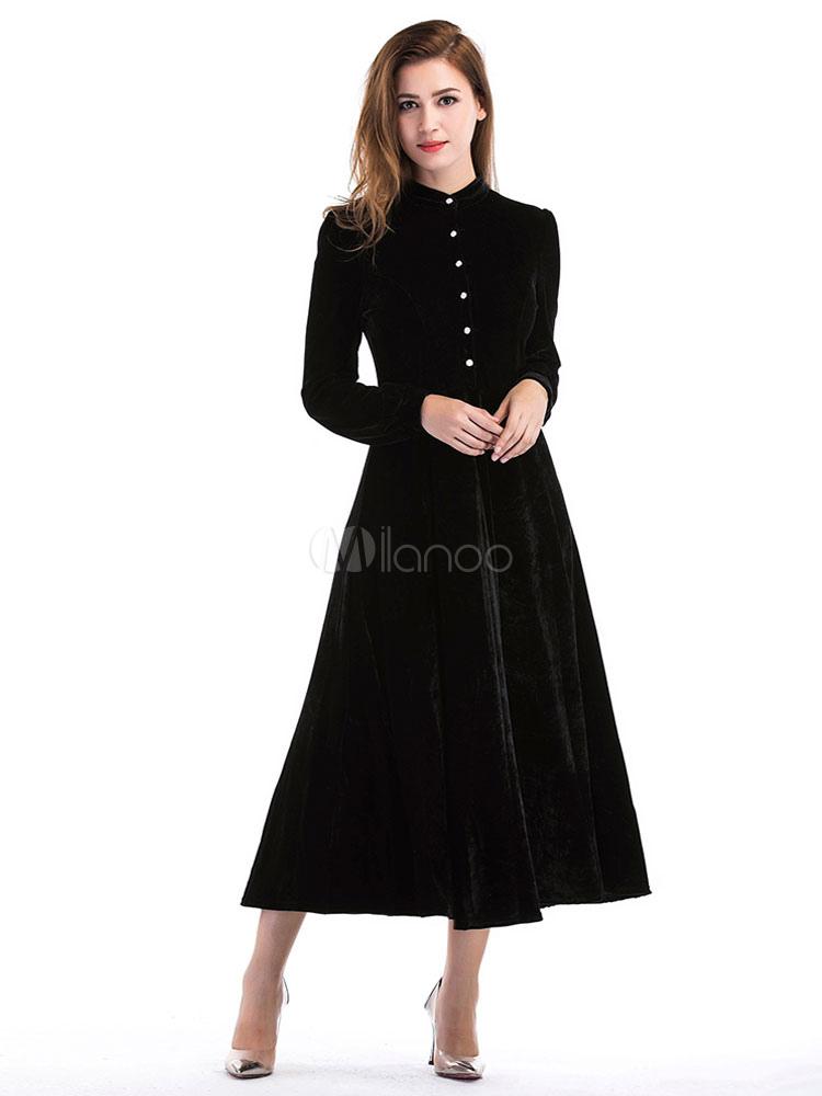 6f53e86080403 أسود طويل اللباس الوقوف طوق كم طويل القطيفة ألف خط فساتين ماكسي المرأة-No.