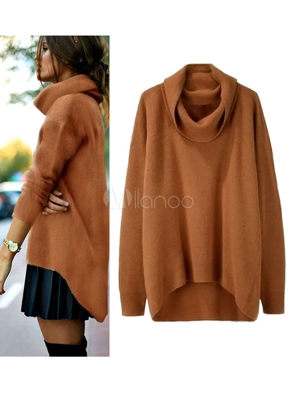 Buy Brown Pullover Sweater Cowl Neck Long Sleeve High Low Casual Top For Women for $17.99 in Milanoo store