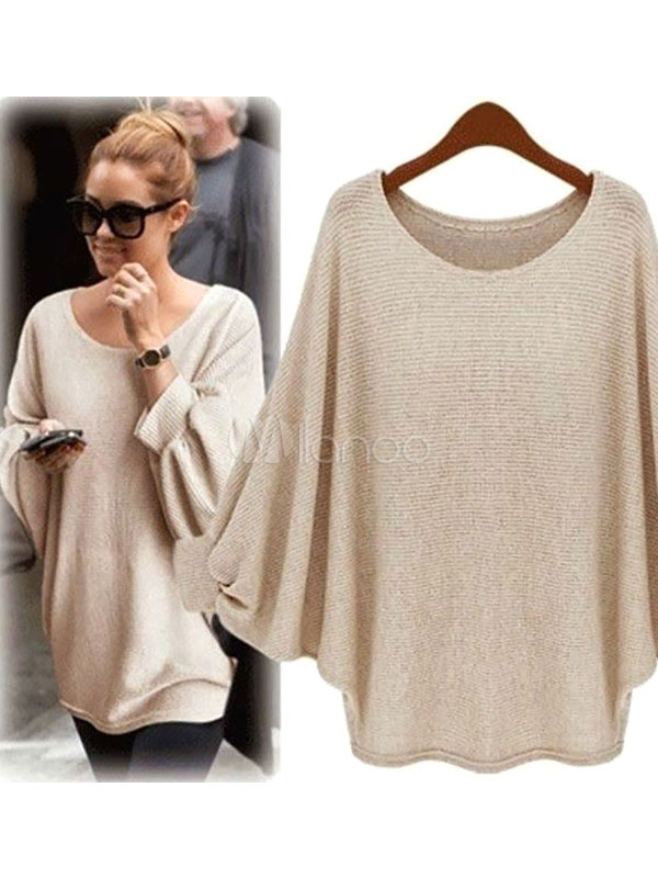 Buy Khaki Pullover Sweater Round Neck Long Sleeve Women's Knit Wear for $17.99 in Milanoo store