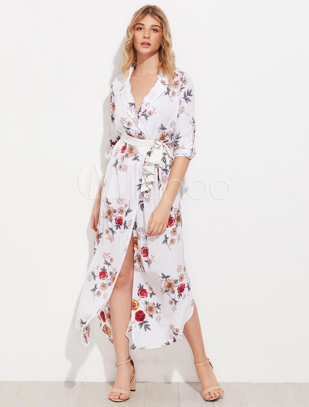 Vestido Largo Manga Larga Flores