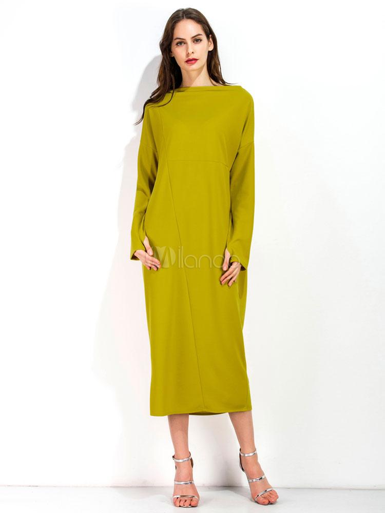 b89a89da0e Yellow Maxi Dress Bateau Neck Long Sleeve Women's Shift Dresses ...