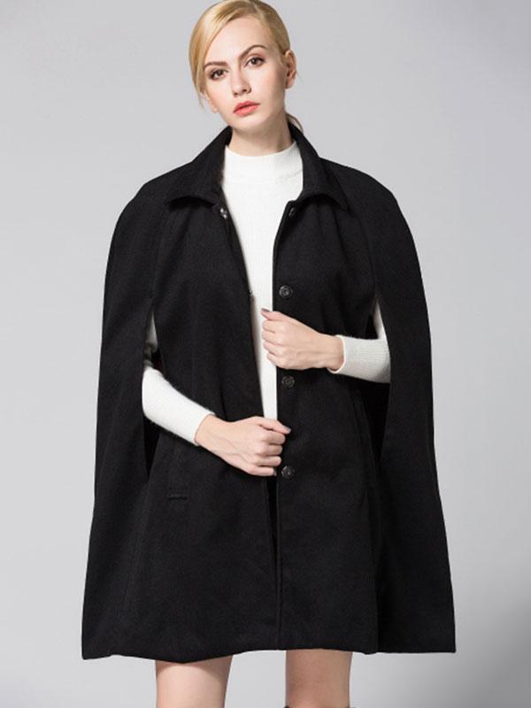 Black Cape Coat Turndown Collar Long Sleeve Split Women's Casual Ponchos Cheap clothes, free shipping worldwide