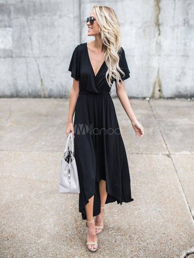 Black Long Dress V Neck Short Sleeve Draped High Low Women's Maxi Dresses