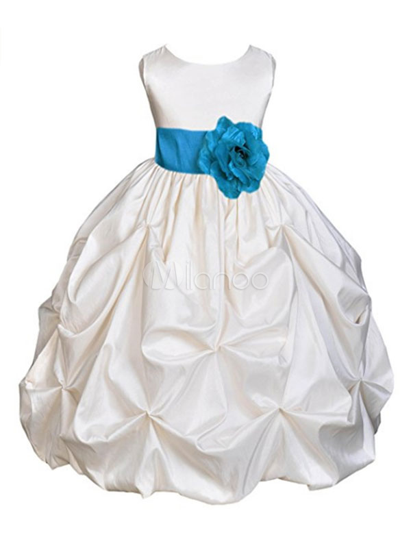 Flower Girl Dresses Ball Gown Kids Pageant Dresses Short Social Party Dress With Detachable Bow And Sash