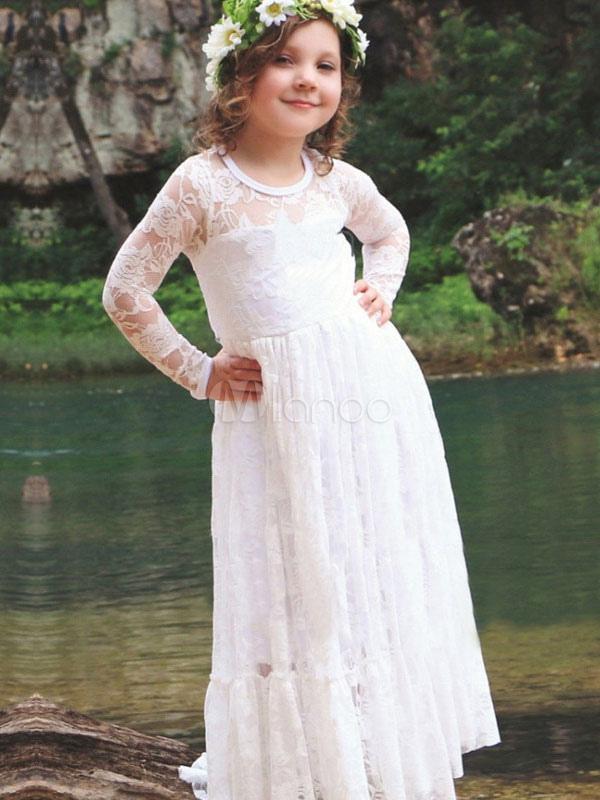 Boho Flower Girl Dresses Lace Long Sleeve Illusion Floor Length Kids Social Party Dresses