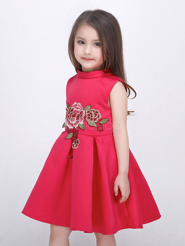 c58d947dcee Flower Girl Dresses Embroidered Pleated Kids Pageant Dresses Dark Navy  Ribbon Bow Short Social Party Dress ...