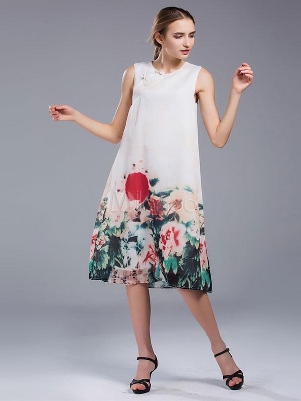 427b0ff4c3 ... Vestido Recto de lino Beige claro con escote redondo sin mangas con  estampado de flores con ...