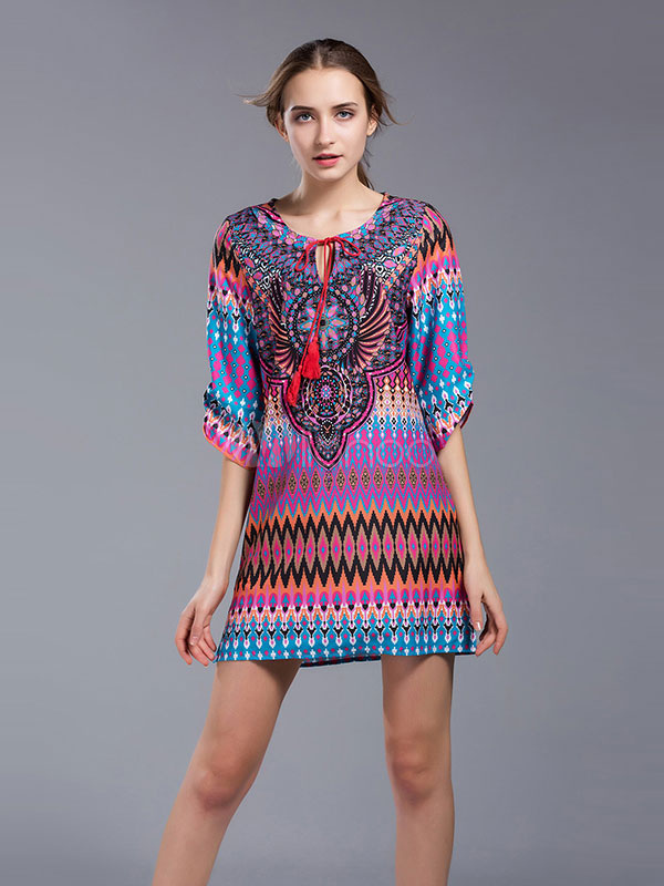 Buy Purple Shift Dress Round Neck Half Sleeve Fringe Printed Women's Casual Dresses for $23.74 in Milanoo store