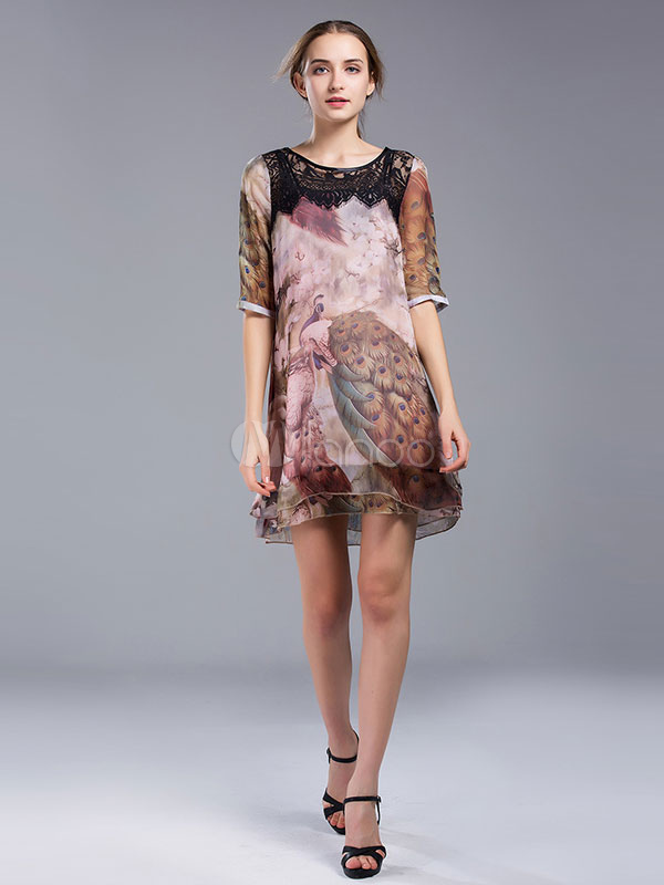 Buy Women's Shift Dress Deep Brown Lace Round Neck Half Sleeve Chiffon Peacock Printed Casual Dresses for $28.49 in Milanoo store