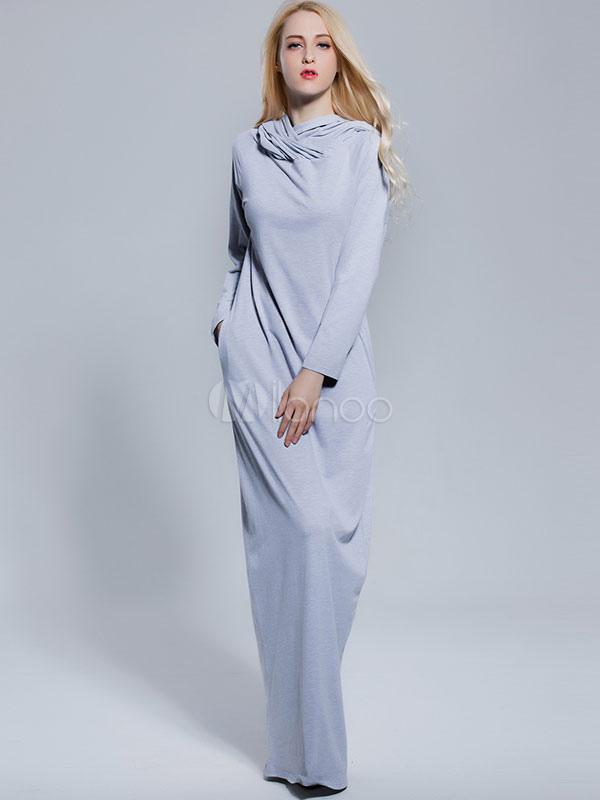 Buy Grey Long Dress Hooded Long Sleeve Women's Maxi Dresses for $37.99 in Milanoo store