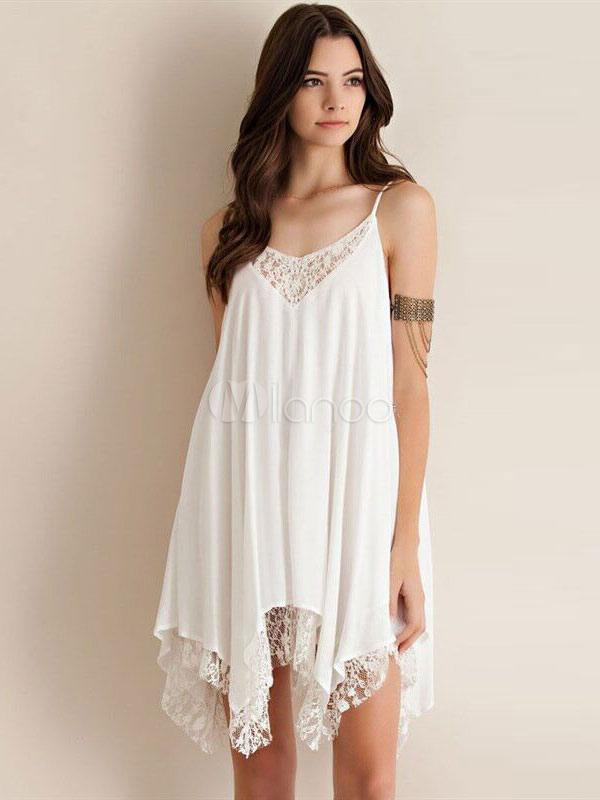 Buy Chiffon Slip Dress Lace Patch Spaghetti Strap Pleated Irregular Hem Women's White Shift Dress for $13.59 in Milanoo store