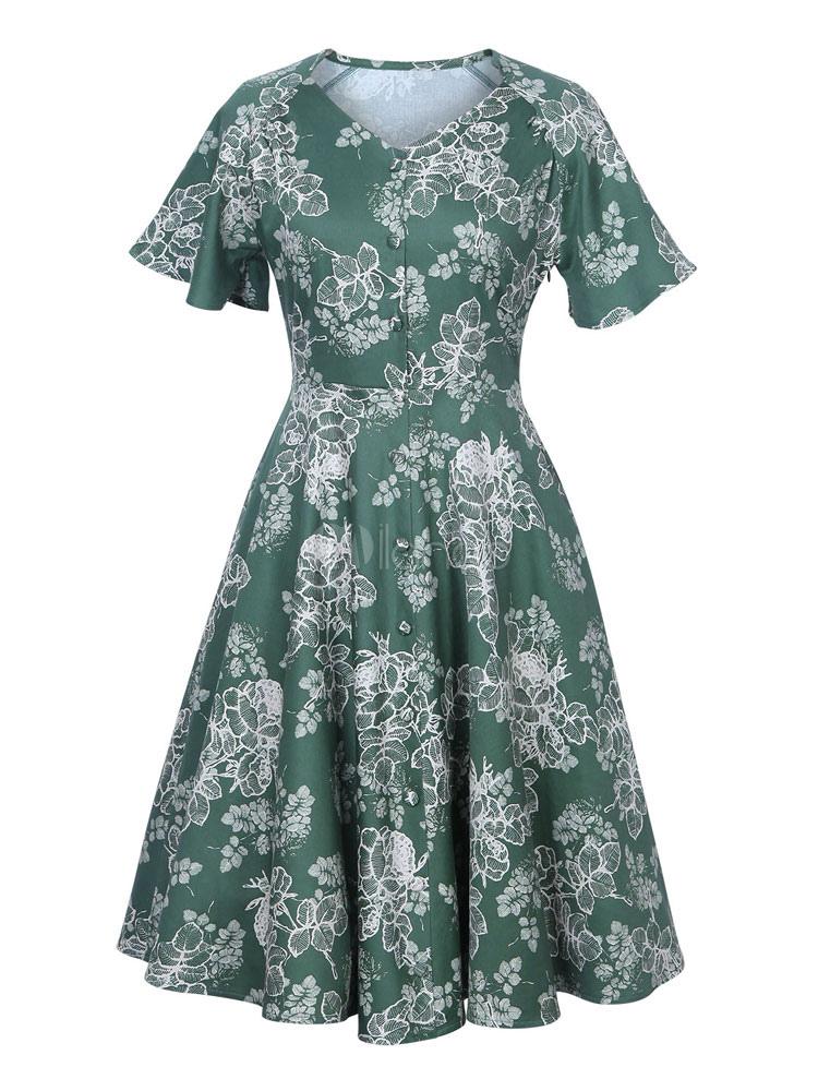 Buy Green Vintage Dress V Neck Short Sleeve Floral Print A Line Skater Dresses For Women for $23.74 in Milanoo store