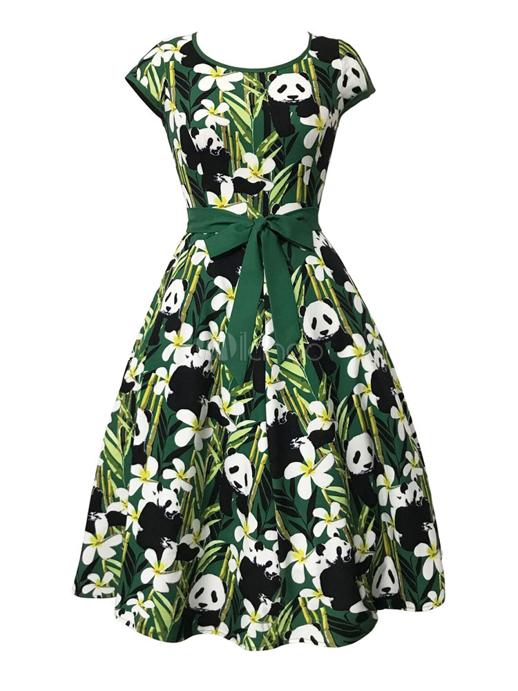 Buy Green Vintage Dress Round Neck Long Sleeve Panda Print Women's A Line Dresses for $17.49 in Milanoo store
