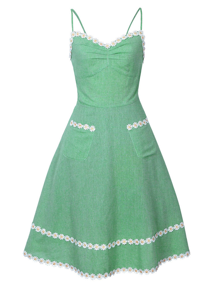 Green Vintage Dress Sleeveless Straps Flowers Applique A Line Dresses For Women