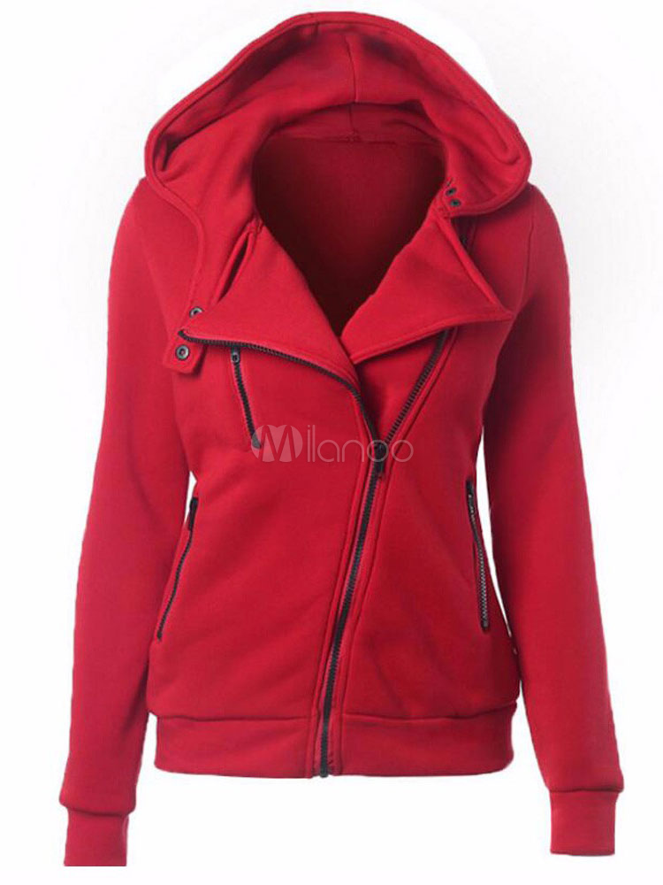 Red Casual Jacket Hooded Long Sleeve Zipper Women's Jackets Cheap clothes, free shipping worldwide