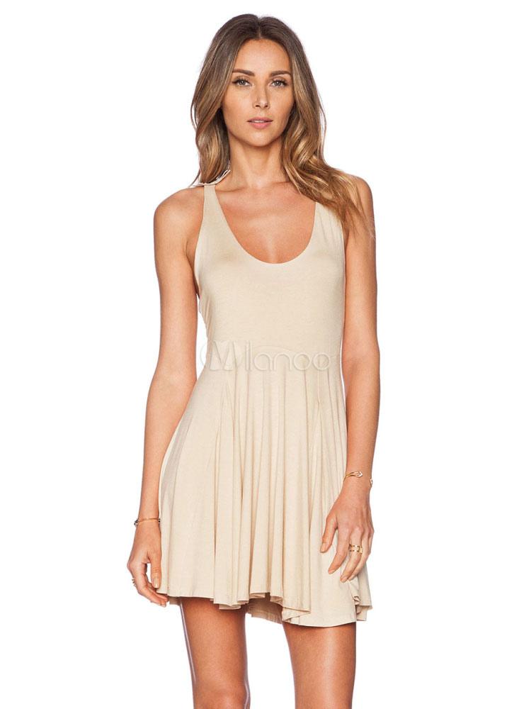 Buy Women's Skater Dress Lace U Neck Cross Back Pleated Sleeveless Ecru White Flare Dress for $26.99 in Milanoo store