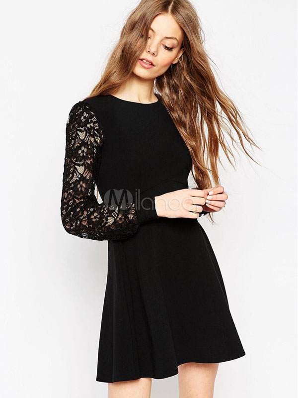 Buy Black Skater Dress Round Neck Lace Patchwork Long Sleeve Short Dresses For Women for $17.59 in Milanoo store