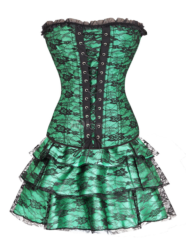 Green Corsets Set Women's Lace Up Strapless Sleeveless Printed Sexy Waist Trainer With Layered Short Skirt