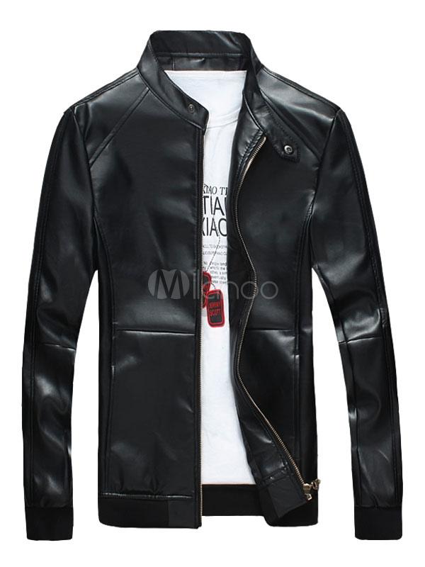 Schwarze Lederjacken Herren Ständer Kragen Langarm Regular Fit Jacke