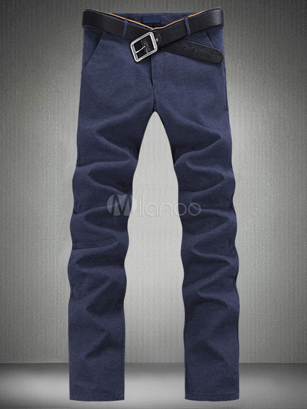 Buy Royal Blue Pants Men's Long Straight Casual Pants for $23.74 in Milanoo store