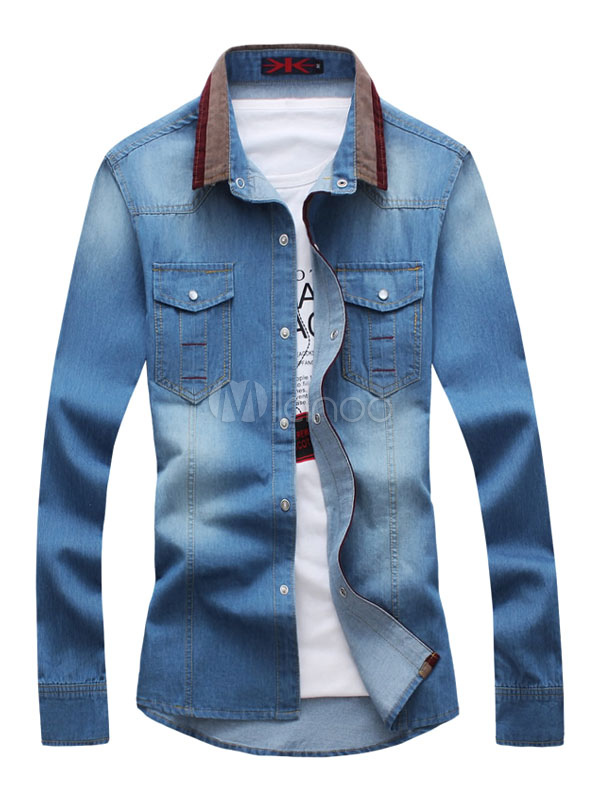 Buy Men's Denim Shirts Blue Turndown Collar Long Sleeve Regular Fit Casual Shirt With Pockets for $28.49 in Milanoo store