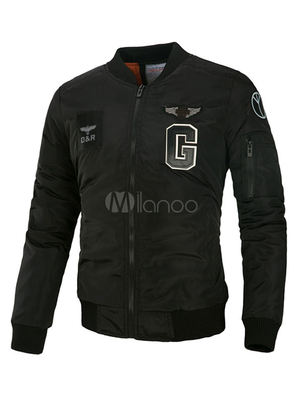 Buy Black Bomber Jackets Men's Stand Collar Long Sleeve Letters Printed Regular Fit Short Jacket for $33.24 in Milanoo store