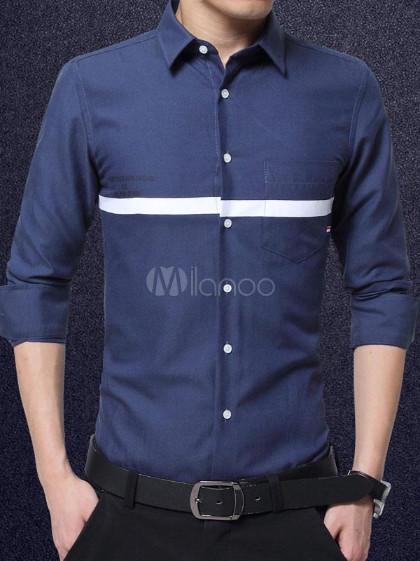 e09f48b79 Camisa de algodón con manga larga de color-blocking Business casual-No.1 ...