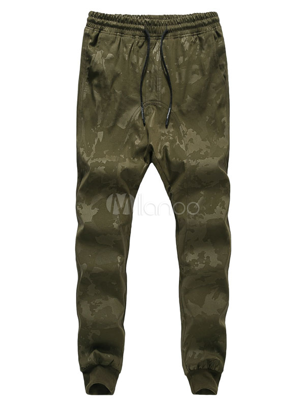 Buy Hunter Green Harem Pants Men's Camo Printed Drawstring Long Jogger Pants for $18.99 in Milanoo store