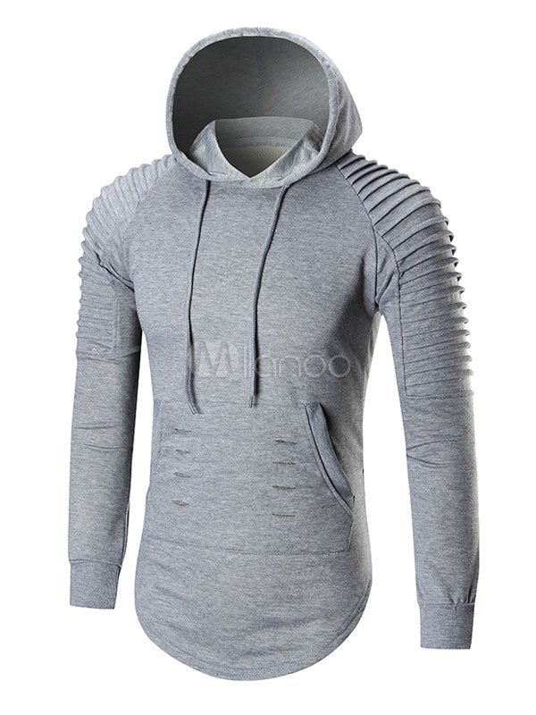Grey Pullover Sweatshirt Men's Hooded Long Sleeve Ruched Regular Fit Hoodie With Pockets