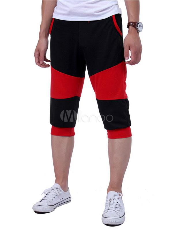 Buy Men's Short Sweatpants Black Elastic Waist Cropped Pants for $18.99 in Milanoo store