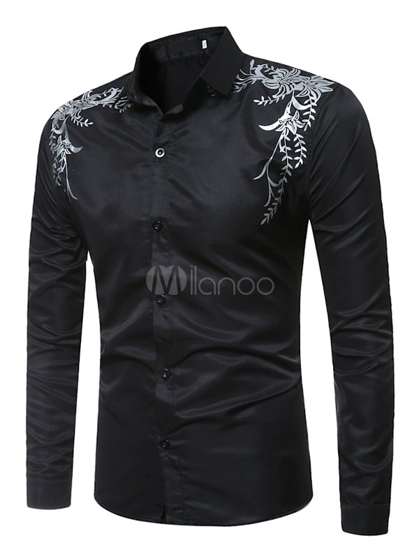 Black Casual Shirt Turndown Collar Long Sleeve Printed Men's Shirt