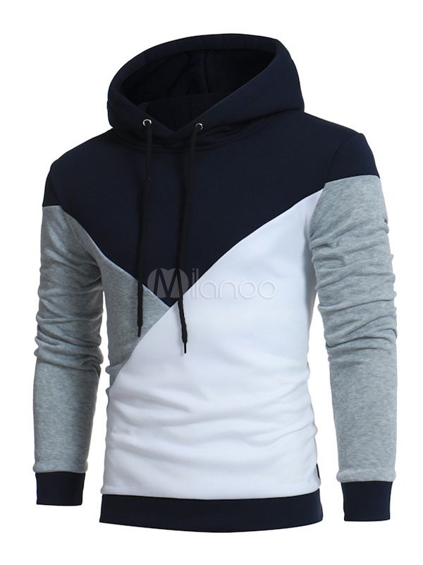 Dark Navy Hoodies Men's Hooded Long Sleeve Color Block Casual Sweatshirt