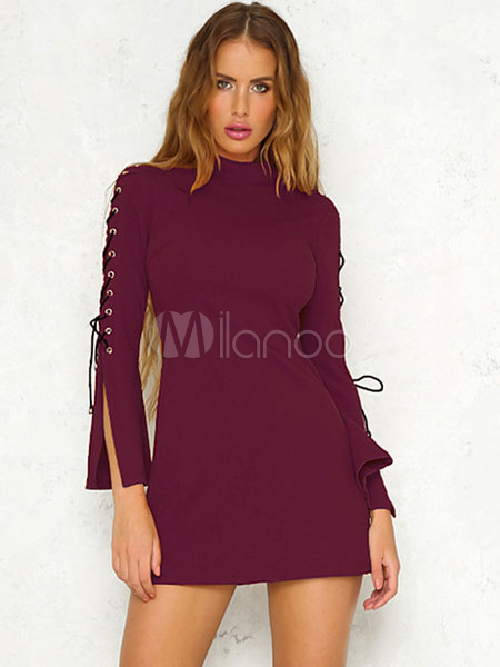 Buy Burgundy Bodycon Dress Lace Up Grommet Long Flare Sleeve Women's Shaping Mini Dress for $35.99 in Milanoo store