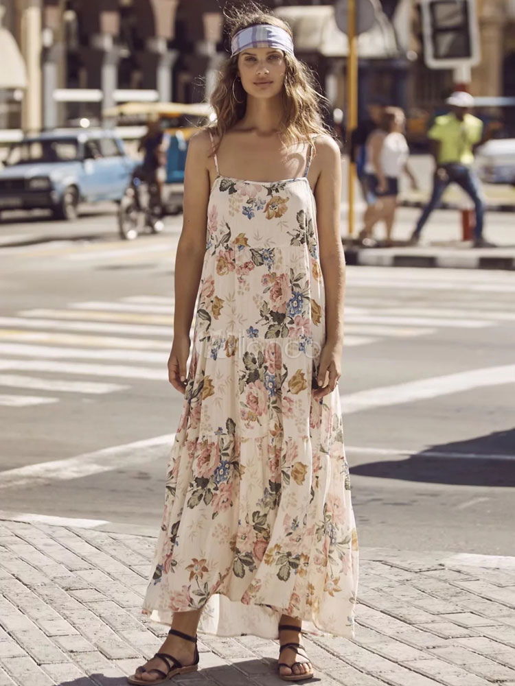 Buy Boho Maxi Dress Cotton Floral Print Backless Draped Women's Apricot Long Slip Dress for $35.99 in Milanoo store