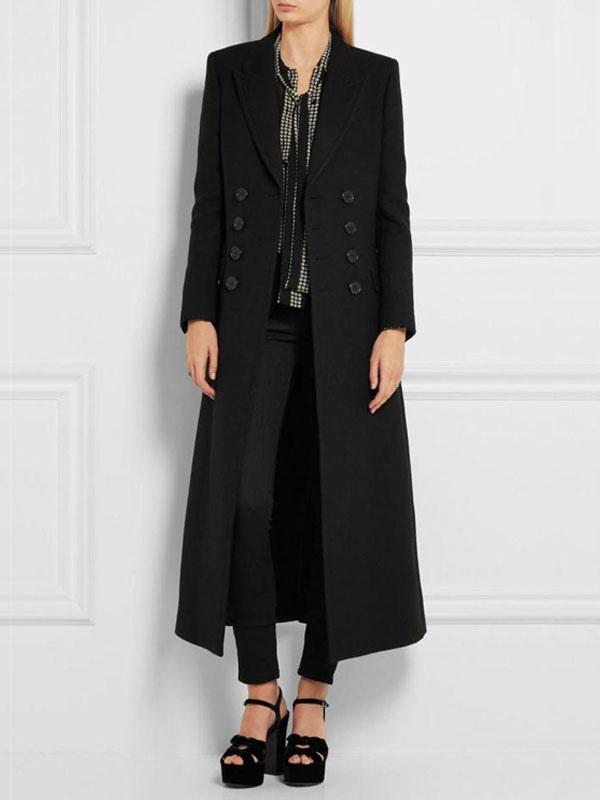1e49dee3064 ... Manteau femme hiver en laine noir avec bouton manteau long femme  hiver-No.2 ...