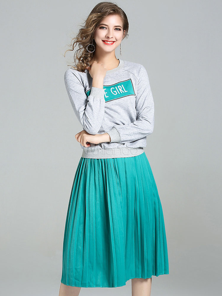 Buy Women's Skirt Set Ocean Blue Round Neck Long Sleeve Letters Print Top With Pleated Skirt for $42.74 in Milanoo store