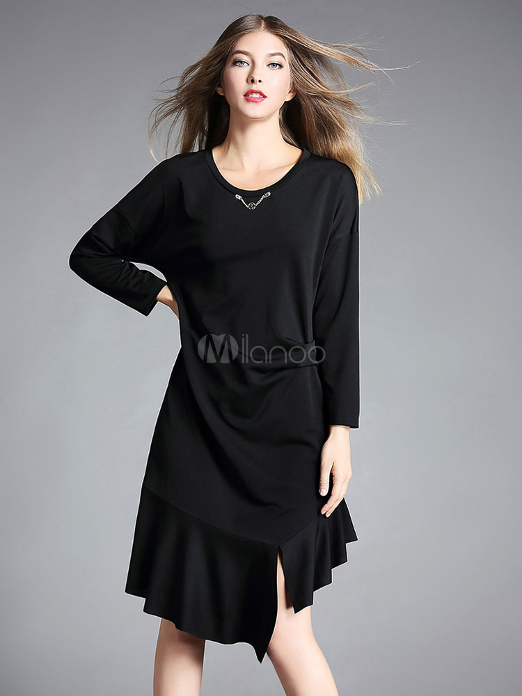 Black Shift Dress Round Neck Metal Details Long Sleeve Ruffles Asymmetrical Dresses For Women