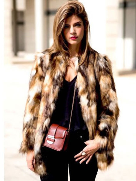 1459663dfa Multicolor Faux Fur Coat Women Brown Color Block Long Sleeve Winter Coat-No.1  ...