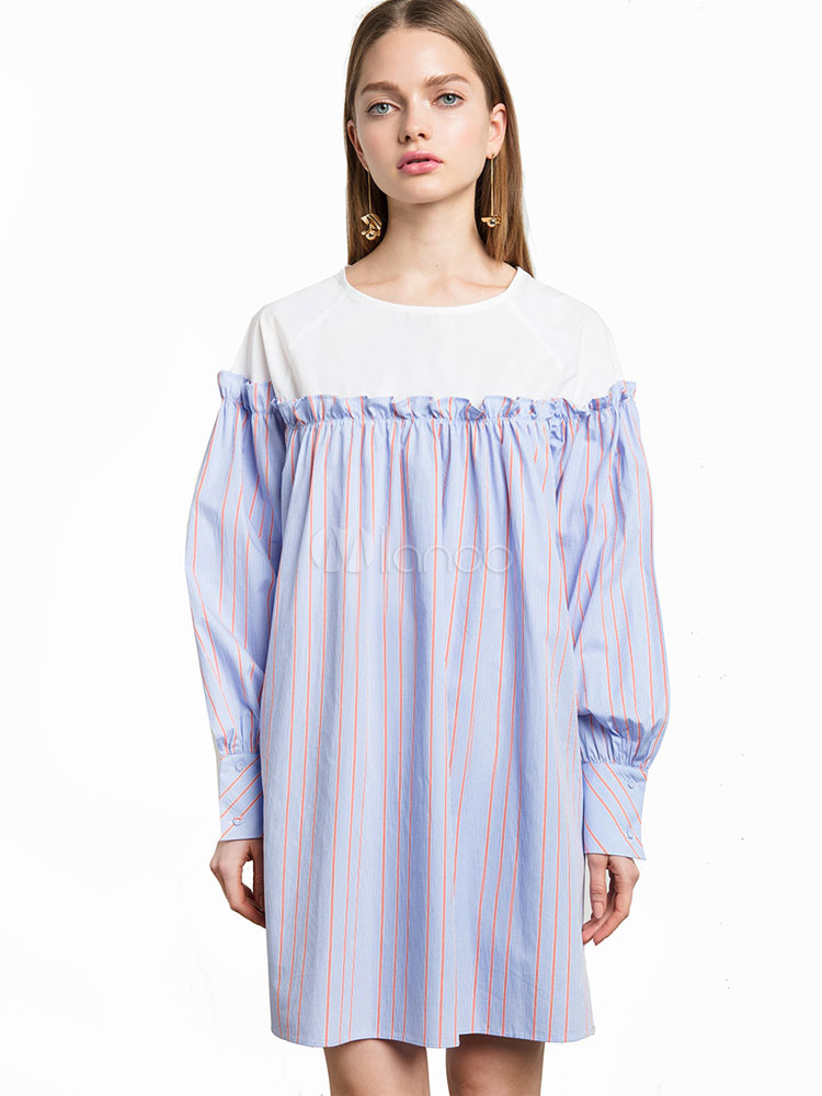 Buy Blue Shift Dress Round Neck Cold Shoulder Puff Sleeve Ruffles Striped Women's Short Dresses for $18.99 in Milanoo store